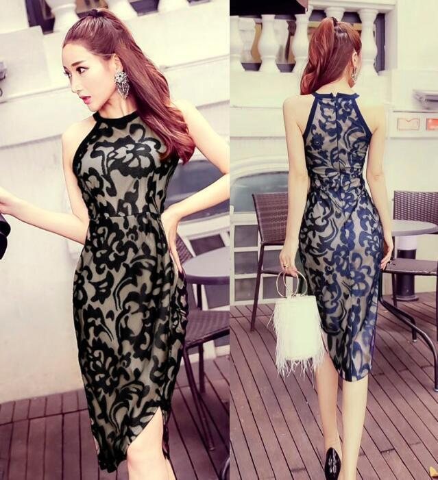 c70e94060b58 2019 Korean Summer New Sleeveless Halter Hollow Out Sexy Lace Splitting  Dress Irregular Long Skirt Women Casual Clothing A0052 Gold Party Dresses  Formal ...