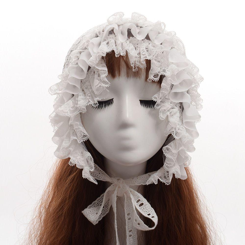 Women Victorian Lace Bonnet Cute Lolita Vintage Black White Maid Cosplay Costume Hat Headwear Fast Shipment
