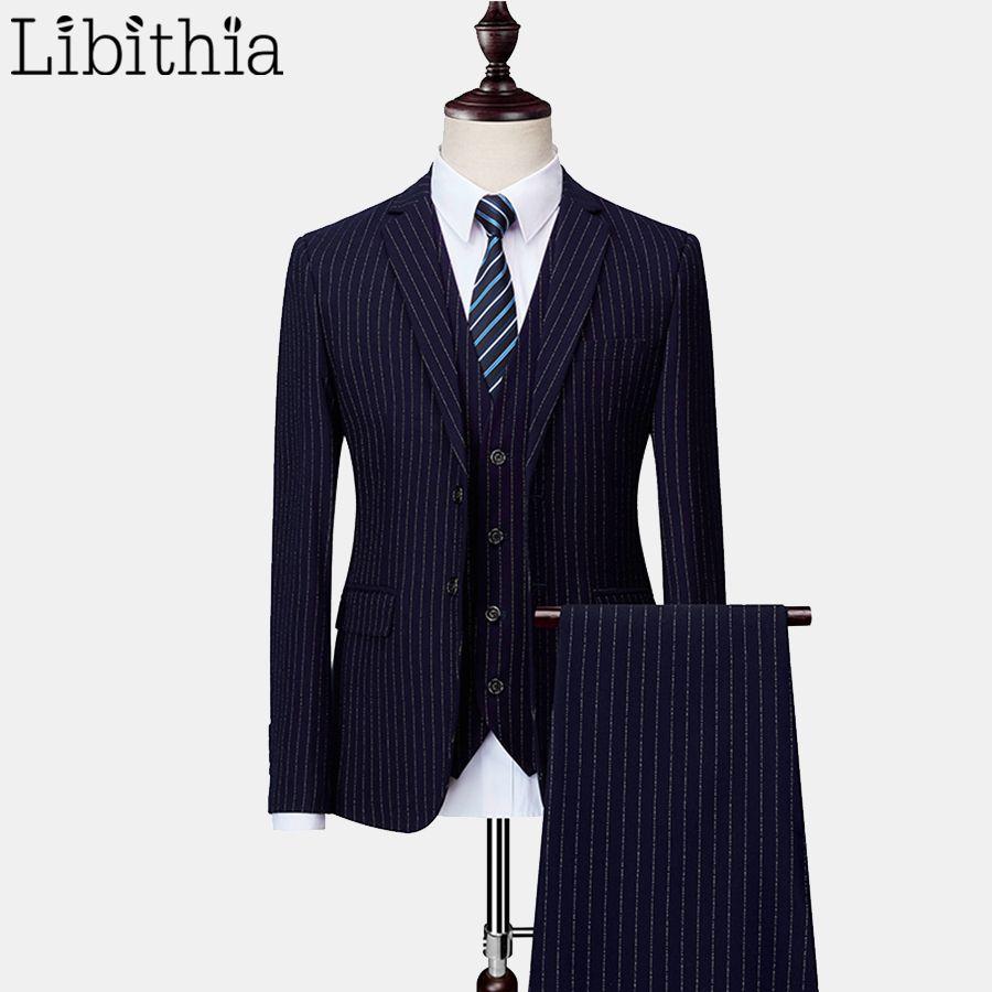 772462c5856 Compre Trajes De Corte Slim De 3 Piezas Para Hombres Chaqueta Con Rayas A  Rayas De Dos Chaquetas Chaleco Talla M 6XL Azul Negro Vestido Gris De La  Boda De ...