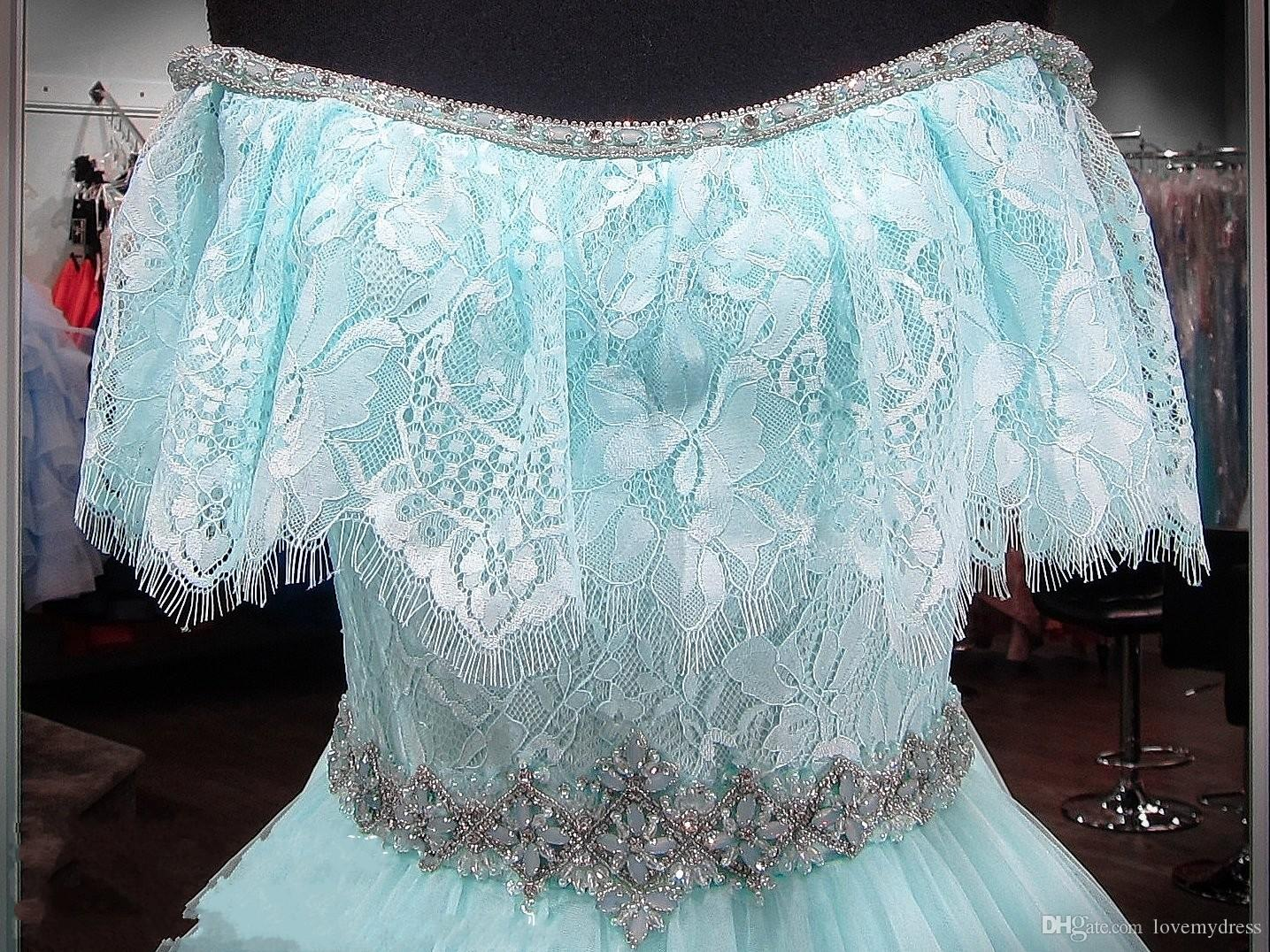 Fashion Aqua Boho Prom Dresses Off the shoulder with Sleeves 2018 New Lace Crystal Bling Rhinestones Tulle A line Princess Runway Evening