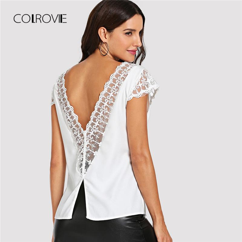 d8dae90fe196 2019 COLROVIE Deep V Neck Lace Trim Single Breasted Back White Blouse Shirt  2018 Summer Night Out Feminine Blouse Sexy Women Tops From Seein