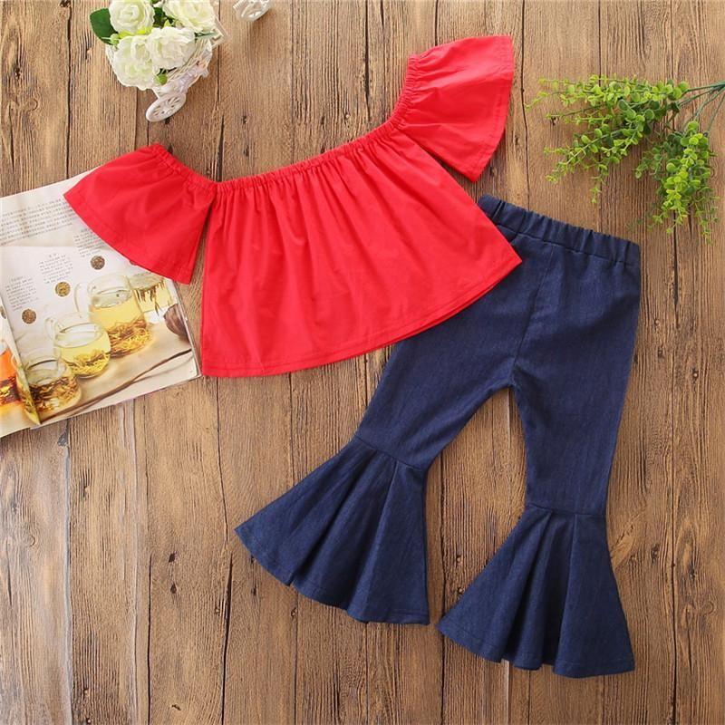 Kids Girls Sets Baby Girl Off SHoulder Shirt + Flare Pants Suits 2018 Infant Princess Outfits Children Clothes Boutique D845
