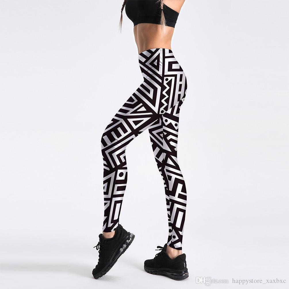 062d510717 2019 2018 Summer 4033 Black White Geometry Triangle Printed Sexy Femme  Sport Yoga Pants GYM Fitness Workout Polyester Women Leggings Plus Size  From ...