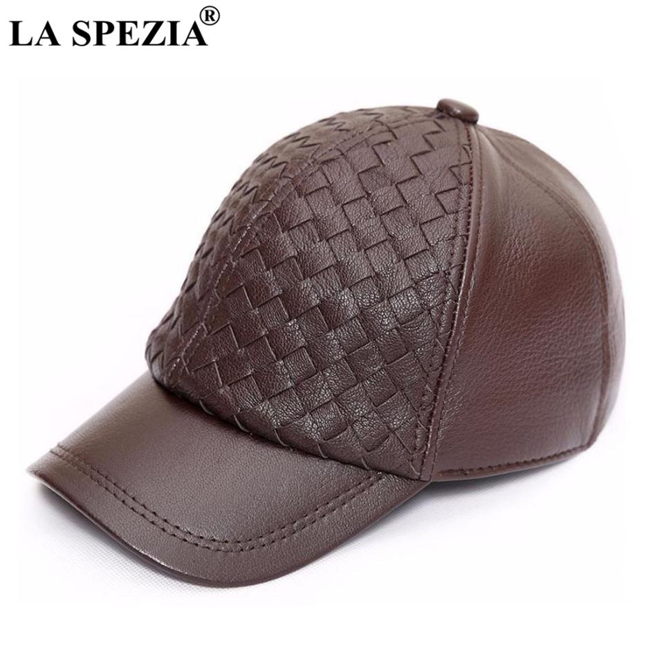 7b247a065a9 LA SPEZIA Genuine Leather Baseball Cap Men Brown Casual Dad Hat Male Real  Leather Classic Adjustable Autumn Winter Snapback Cap Baby Cap Embroidered  Hats ...