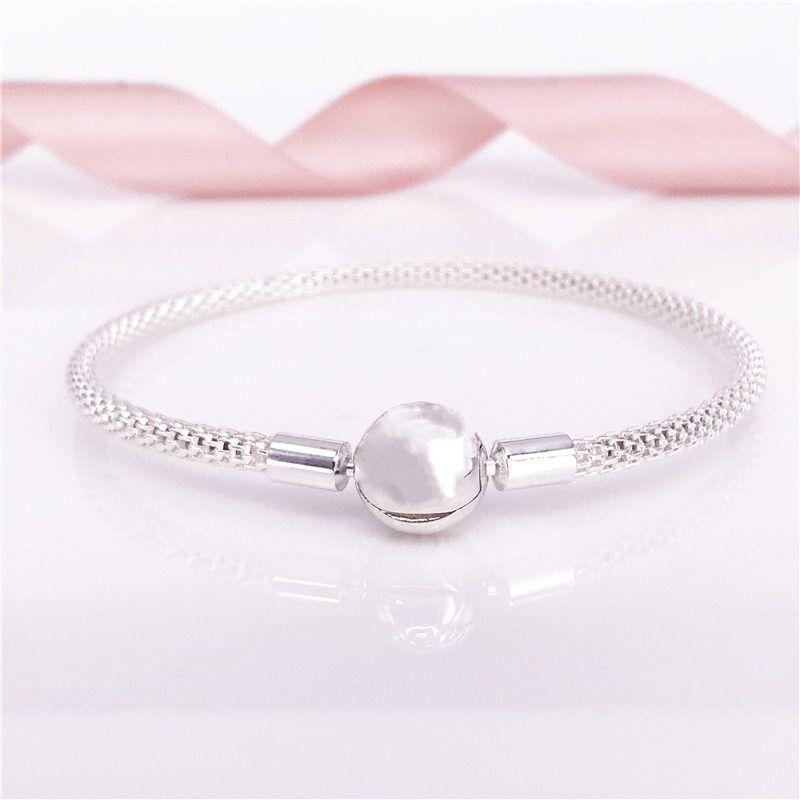 Моменты стерлингового серебра сетки браслет, S925 стерлингового серебра женщин марка ювелирных изделий подходят DIY бусины и подвески