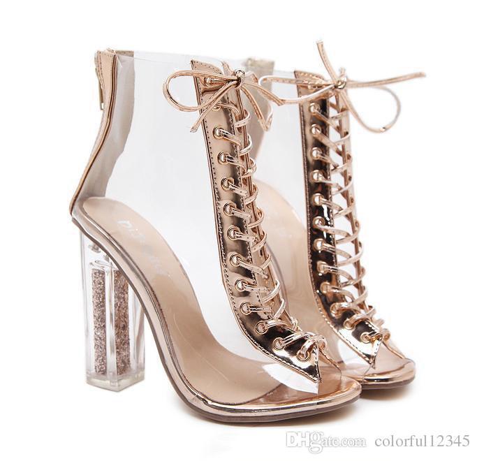 Champagne Gold PVC transparente gruesos tacones altos Peep Toe Lace Up tobillo Bootie diseñador zapatos tamaño 35 a 39