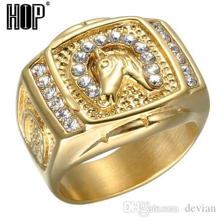 HIP Hop Micro Pave Rhinestone Iced Out Bling Horse Ring IP Gold Filled  Titanium Stainless Steel Rings for Men Jewelry Man Finger Rings CZ Big Ring  Party ... 23ce2c0aaf6a