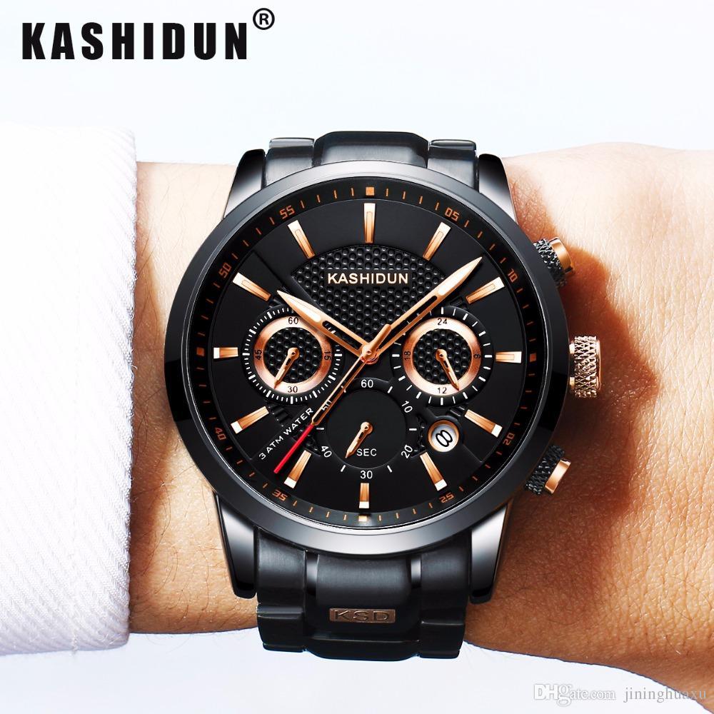 cf0525ea01a Compre Kashidun Marca De Luxo Mens Esportes Relógios À Prova D  água Relógio  Militar Masculino Moda Casual Japonês Relógios De Pulso De Quartzo Relógio  ...