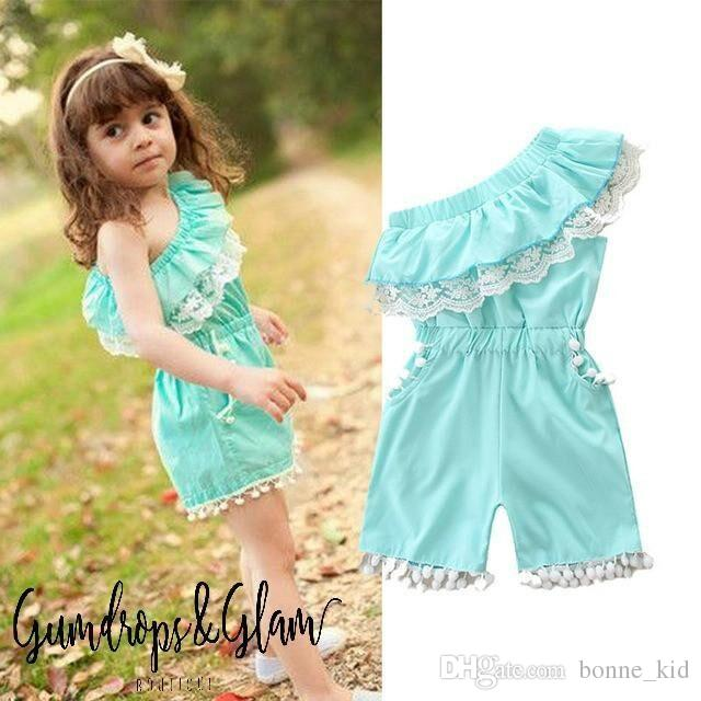 e1fa782e7 2019 Summer Kid Baby Girls Off Shoulder Lace Romper Blue Jumpsuit White  Tassels Bodysuit Fashion Children Playsuit Boutique 1 6Y From Bonne_kid, ...
