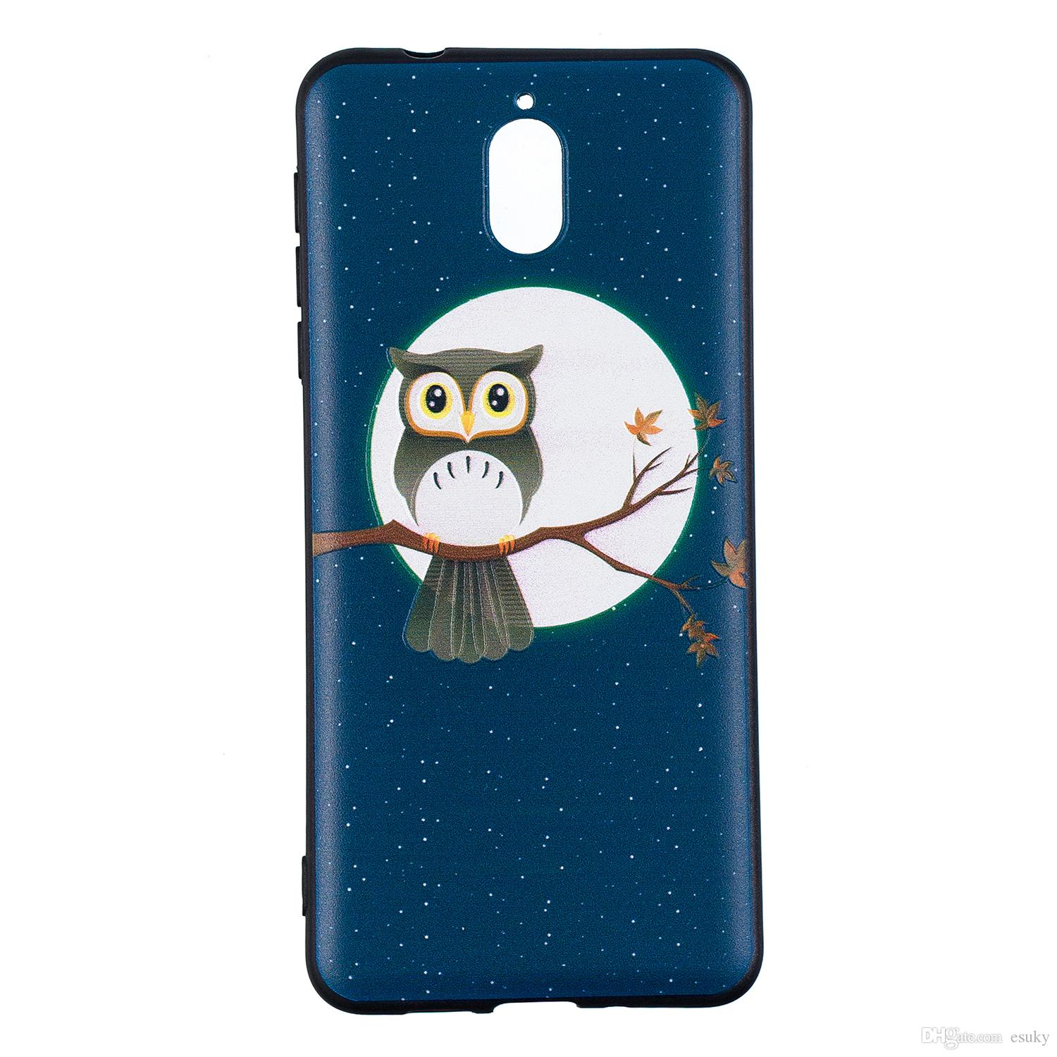 For3 1 2018 Case Soft Flexible Slim Fit Tpu Protective Cell Phone Back Skin Cover Case With Navy Blue Owl Pattern Discount Cell Phone Cases Free Cell Phone