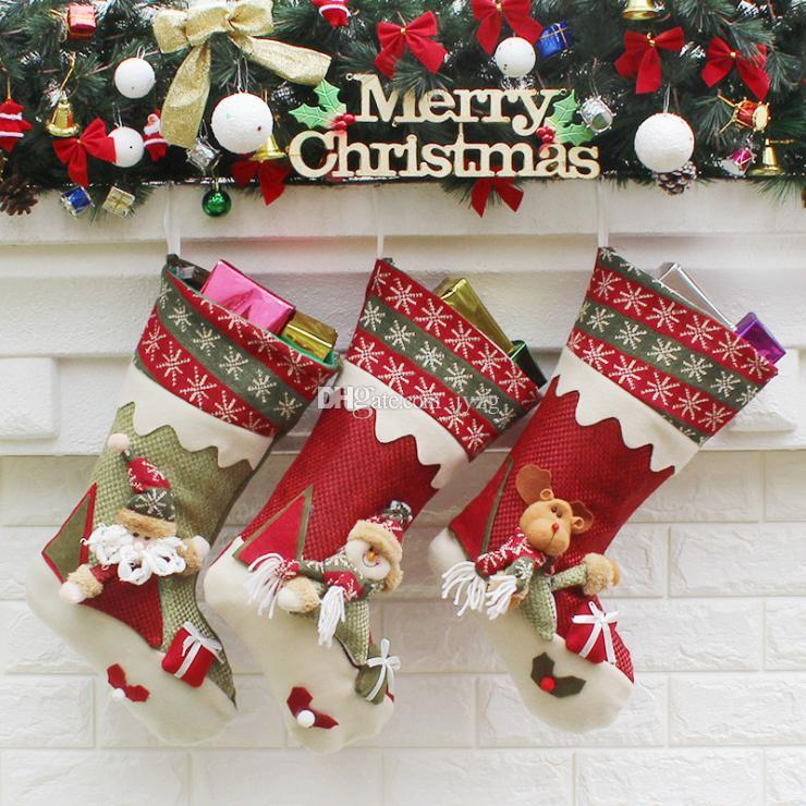 christmas stockings hand made crafts children candy gift santa bag claus snowman deer stocking socks xmas tree decoration toy gift 28 29 30 christmas toy - Best Christmas Stockings
