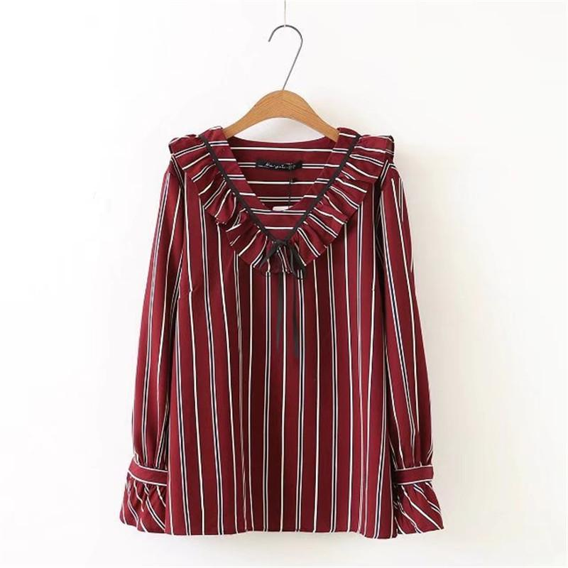 d0d97598d82 Striped Ruffle Blouse Plus Size 5XL Shirt Women Tops Loose Long Sleeve  Shirts Women Top Blouses 2018 Spring New Blusa Feminina Canada 2019 From  Cactuse