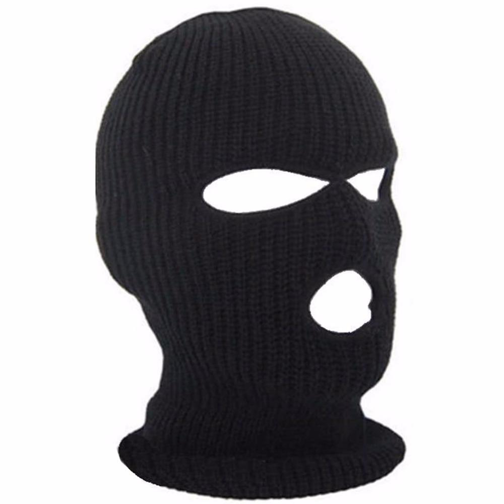 3 Hole Ski Mask Balaclava Black Knit Hat Face Shield Beanie Cap Snow ...