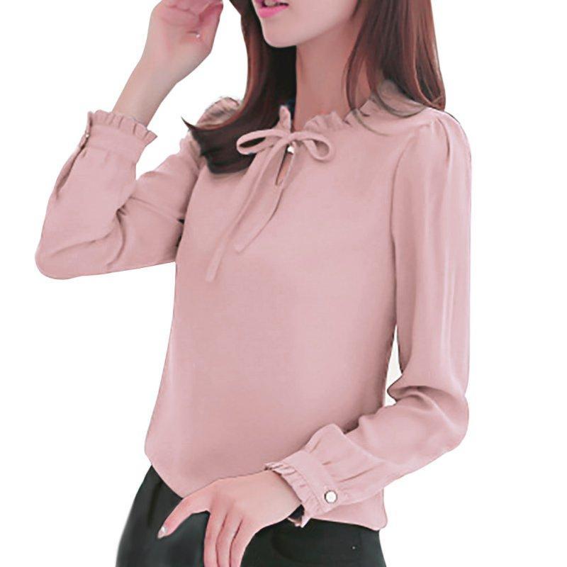 0c819015bfd0 Elegantes camisas de manga larga Mujeres Stand Collar Arco Blusas Señoras  Blusa de gasa Tops