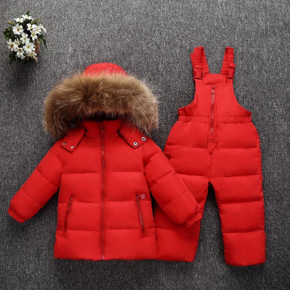 36f99d47b Warm Girls Down Parka Real Fur Hooded Baby Girl Duck Down Jacket ...