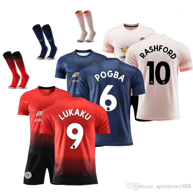 962519f1f 2018 19 FC Manchester United Soccer Jersey Kids Set Jersey POGBA ...