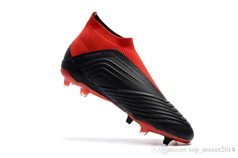 2019 2018 Black Red Original Football Boots Messi Soccer Cleats Laceless  Predator 18+ FG Outdoor Soccer Shoes Good Quality Slip On Soccer Boots From  ... 296c10760