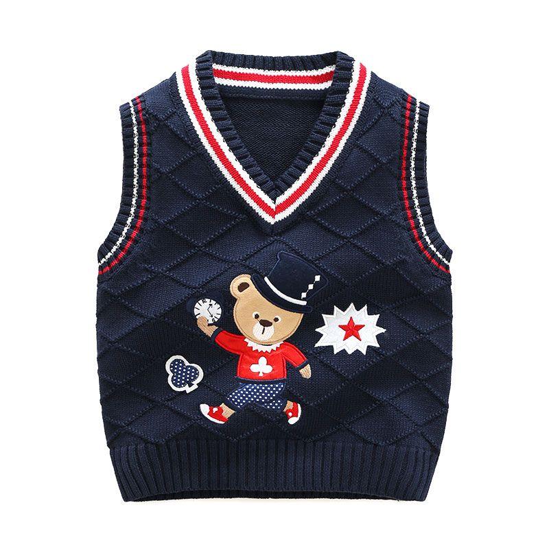 Kids Sweater Patterns Vest Cardigan Knitted Vest Children Preppy