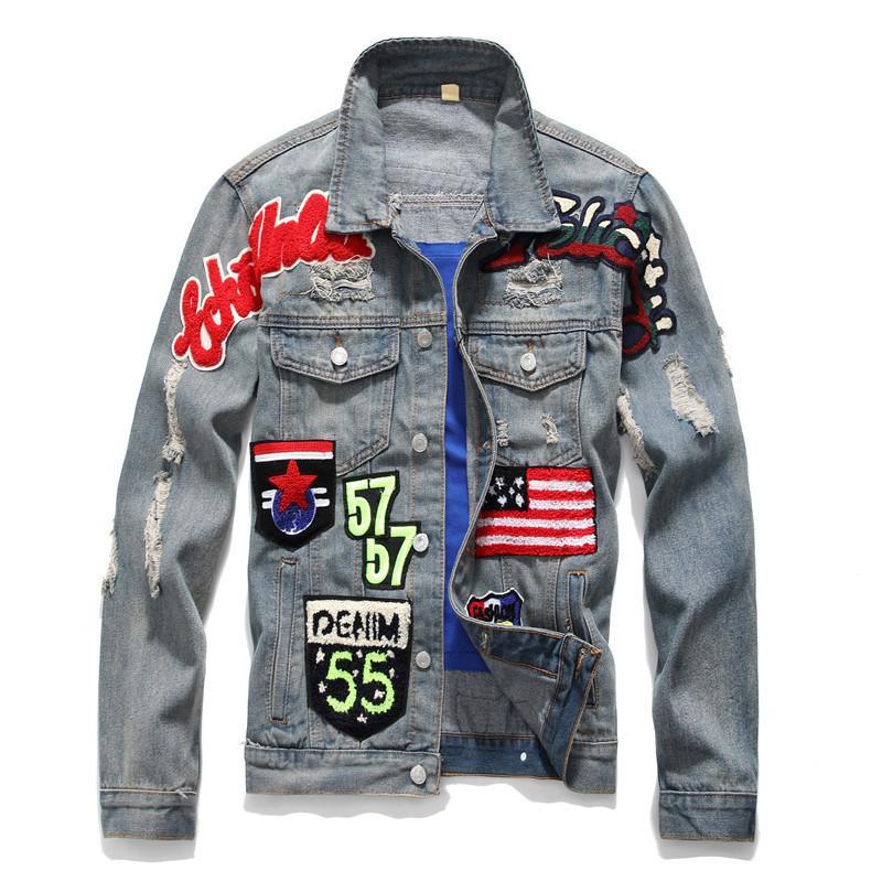 Acquista MORUANCLE Giacche Di Jeans Strappati Stile Punk Maschile Con Toppe  Giacche Capispalla Di Jeans Trucket Strappati Afflosciati Con Fori A  64.48  Dal ... ac6a72b76df
