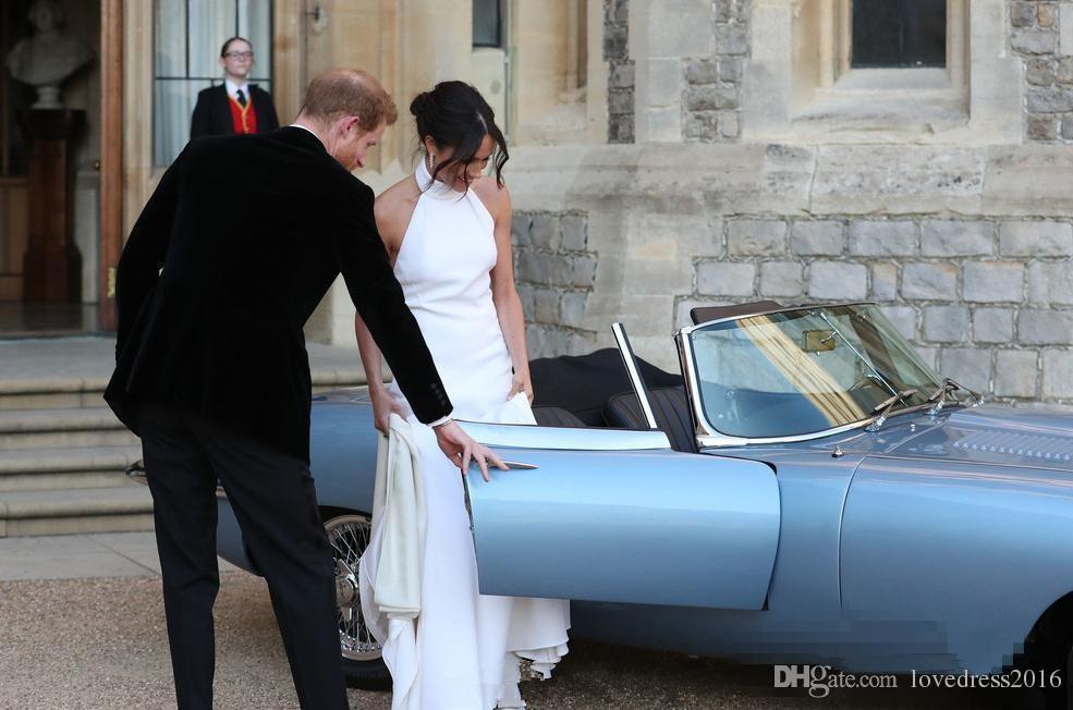 Longo Elegante Branco Vestidos De Casamento Barato 2019 Halter Pescoço Com Zíper de Volta Sem Mangas Primavera Nupcial Do Casamento Vestidos