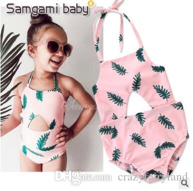 2018 Summer Newborn One Piece Beachwear Toddler Infant Child Kid Baby Girl Leaf Swimwear Swimsuit Bikini Bathing Suit Costume 2-6T