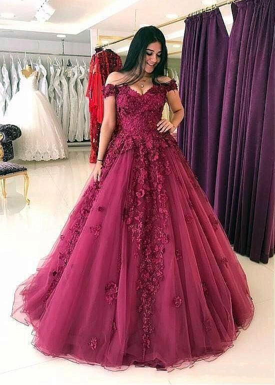 e4b6baac56b47 2019 Dark Red Lace Evening Dresses Off Shoulder 3D Floral Applique Elegant Prom  Formal Dresses 2019 Vestidos De Fiesta Robes De Bal Stylish Evening Dresses  ...