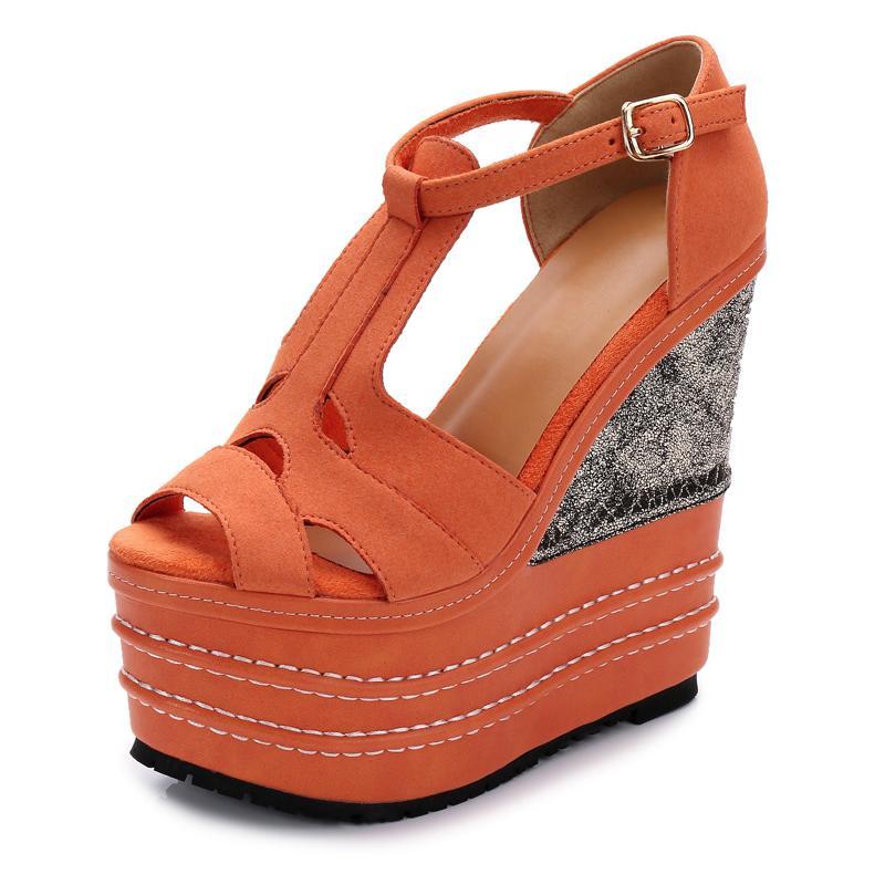 37f1a140395b5f 2018 Fashion Summer Sandals Women 14CM 16CM Super High Heels Platform  Wedges Shoes Flock Ankle Wrap Open Toe Ladies Shoes Women Wedge Boots  Comfortable ...