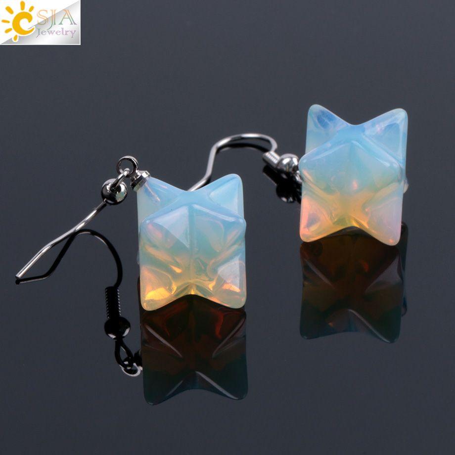CSJA Natural Gem Stone Star Pendant Drop Earrings Women Statement Retro Crystal Opal Lapis Lazuli Reiki Vintage Earrings Jewelry Gift F021