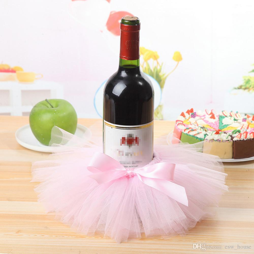 Red Wine Bottle Cover Tulle Wine Bottle Skirt with Glitter Gold Brims for Wedding Party Baby Shower Christmas Birthday Cake Decorations