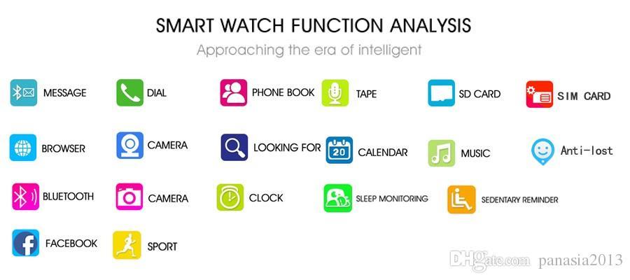 Смарт часы Q18 Bluetooth SmartWatch для Apple, iPhone IOS Samsung Android телефон с Слот SIM-карты Смарт Watch браслетов
