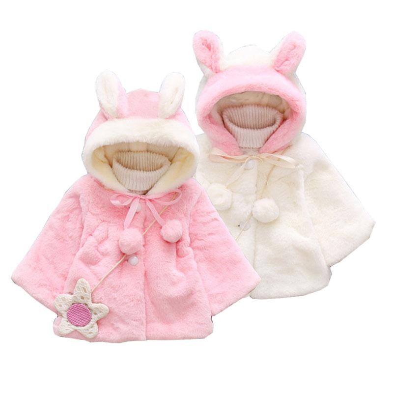 ce17b6b06efc Autumn Winter Baby Girls Clothes Faux Fur Fleece Hooded Cloak Cape ...
