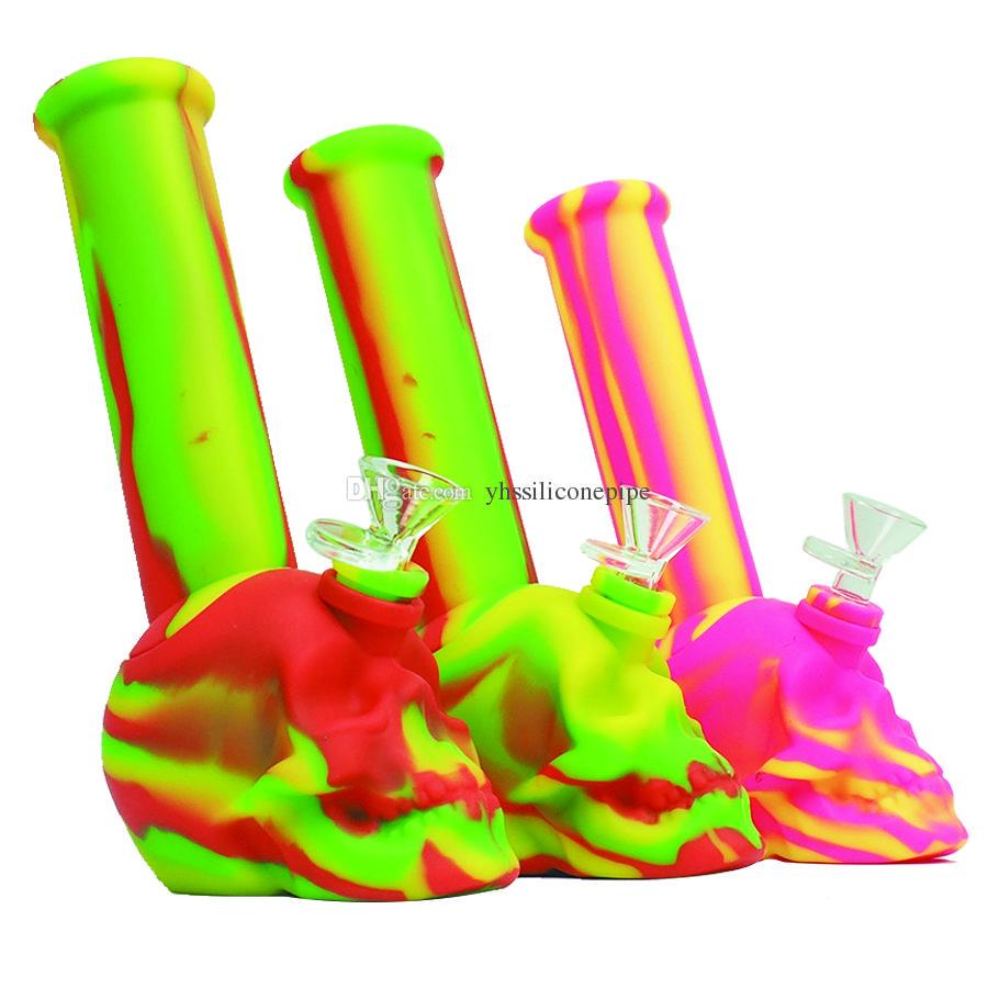 Kafatası kırılmaz silikon su bong taşınabilir Sigara Boru konsantresi cam bong tütün su borusu Ücretsiz Teslimat