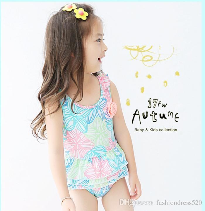 6 Styles Swimwear for 1-10 years print kids falbala children girls one piece swimsuit swimwear 2018 cute baby swim wear bathing suit
