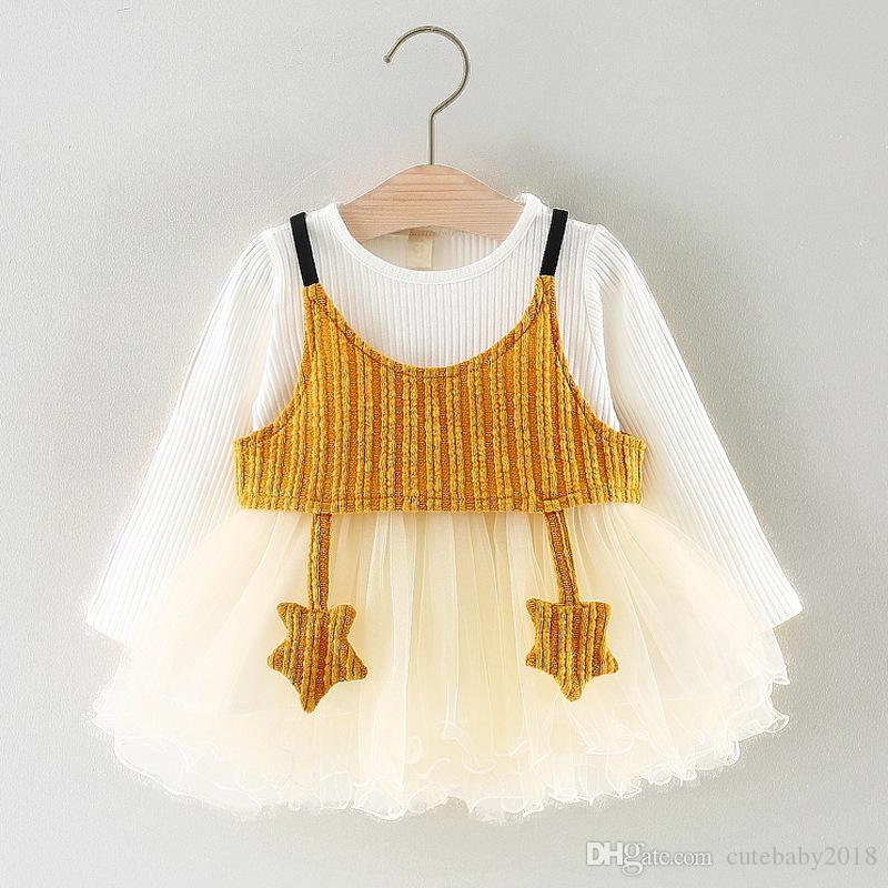 Long Sleeve Five Stars Vest Baby Girls Clothing Lace Princess Dress baby tutu dress infant dresses vestido infantil