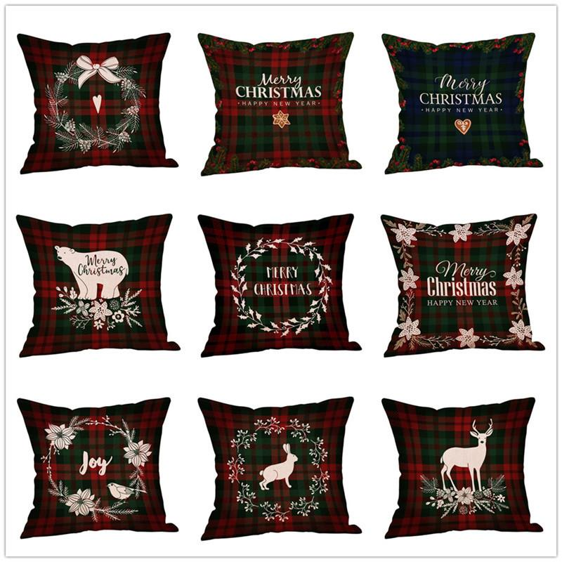 45x45cm Christmas Cushion Cover Halloween Pillowcase Cotton Linen Tree New Year Decorative Pillows For Sofa Cushion Cover 2019 Home Decor