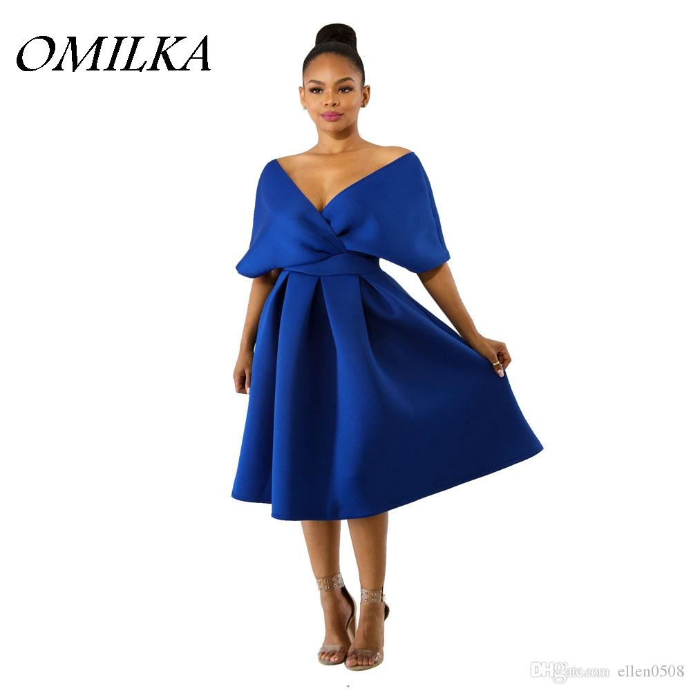 b540f4e046e13 OMILKA 2018 Summer Women Off The Shoulder V Neck Big Swing Ruffle Dress  Vintage Blue Rose Blue Backless Club Party Midi Dress Fashion Dress Short Dress  From ...