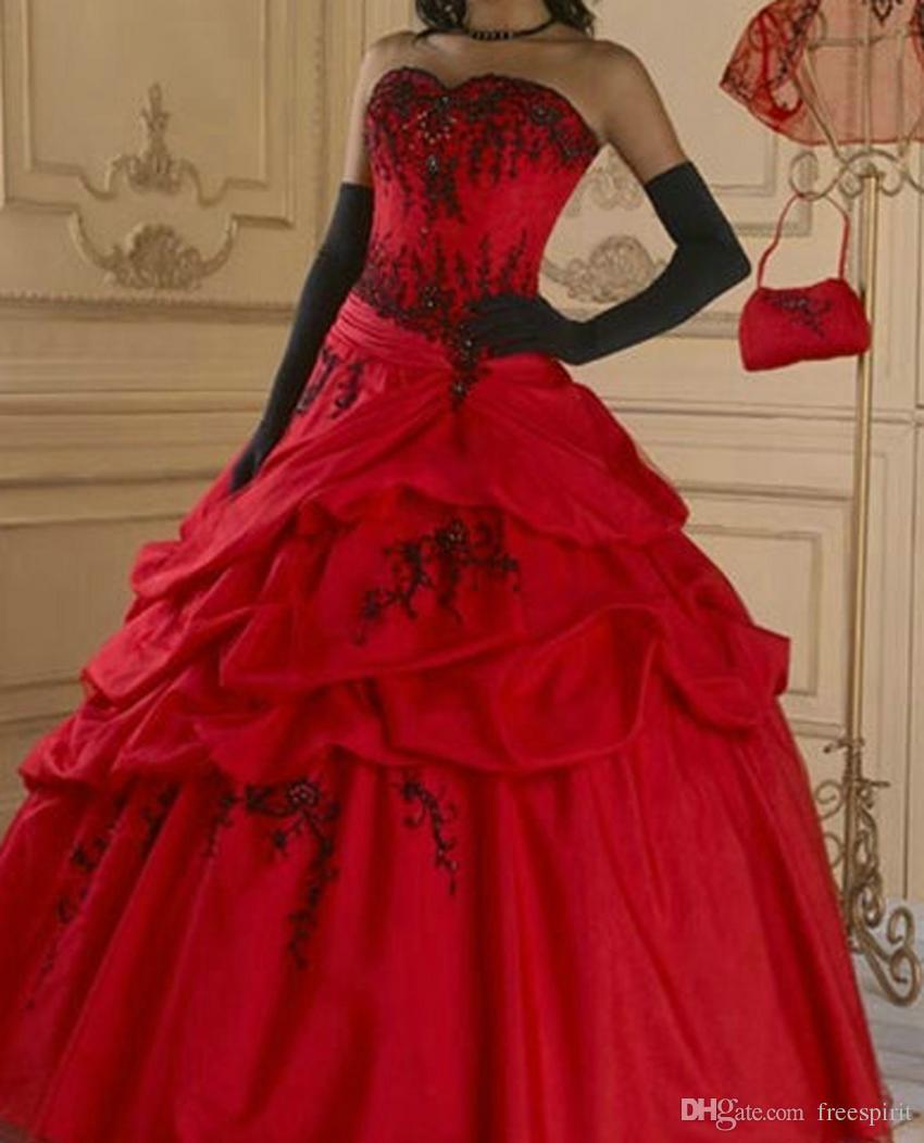 c85af6605 Red Gothic Wedding Dress Ball Gown Black Beading Sweetheart Corset Waist  Lace Up Back Vintage Color Bridal Dresses Custom Made Green Wedding Dresses  Halter ...