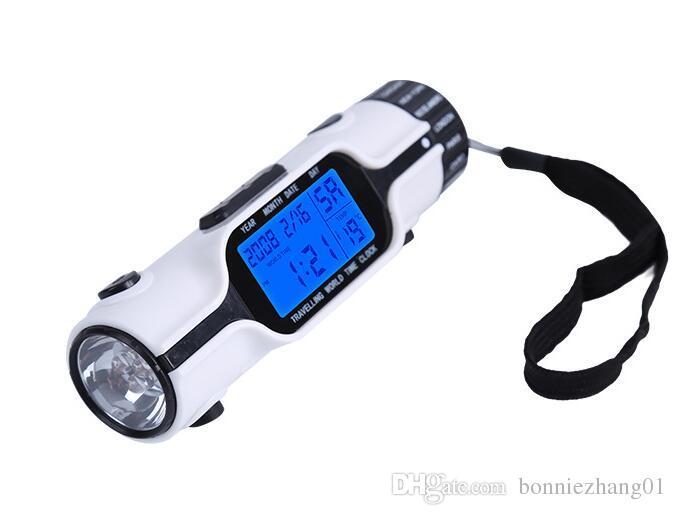 LED Torch Fener Termometre Takvim Çoklu fonksiyonla Dünya Saati Koleksiyon Dijital LCD Arka Çalar Saat Seyahat