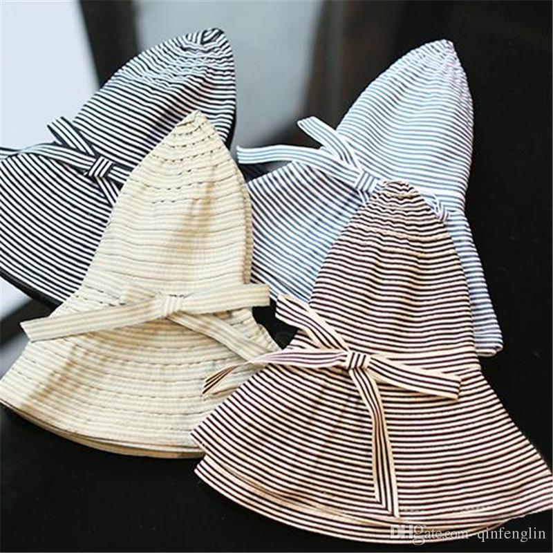 91b1bb3c26b Fashion Hepburn Wind Striped Hats Summer Sun Hat Beautiful Women ...