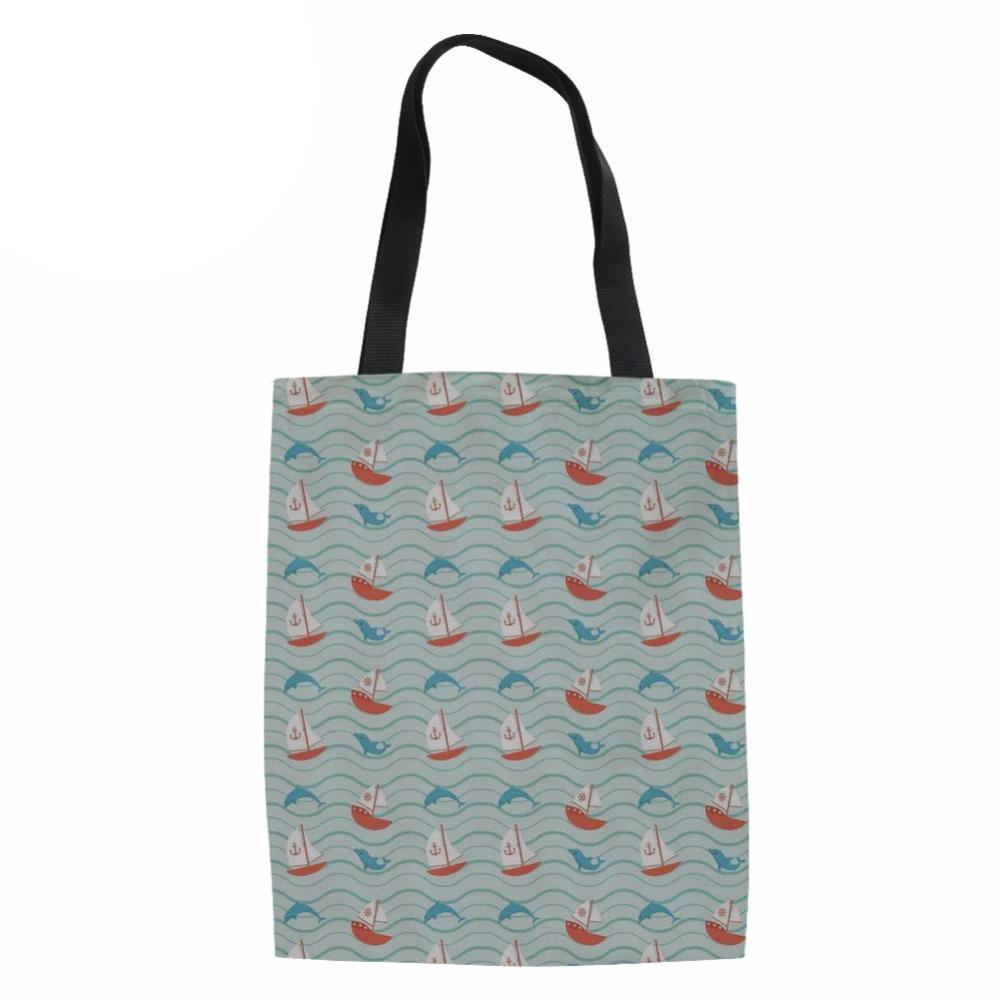 Shopping Bags Women Fashion Canvas Tote Ladies Dolphin Printed Eco ... 815896d1b5308