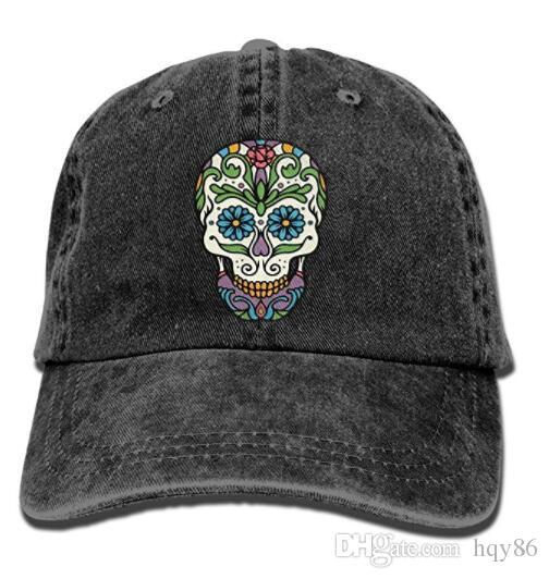 0b82785cc79 Unisex Sugar Skull Teal Blue Flower Eyes Vintage Jeans Baseball Cap Classic Cotton  Dad Hat Adjustable Plain Cap Multi Color Optional Army Cap Cheap Hats ...
