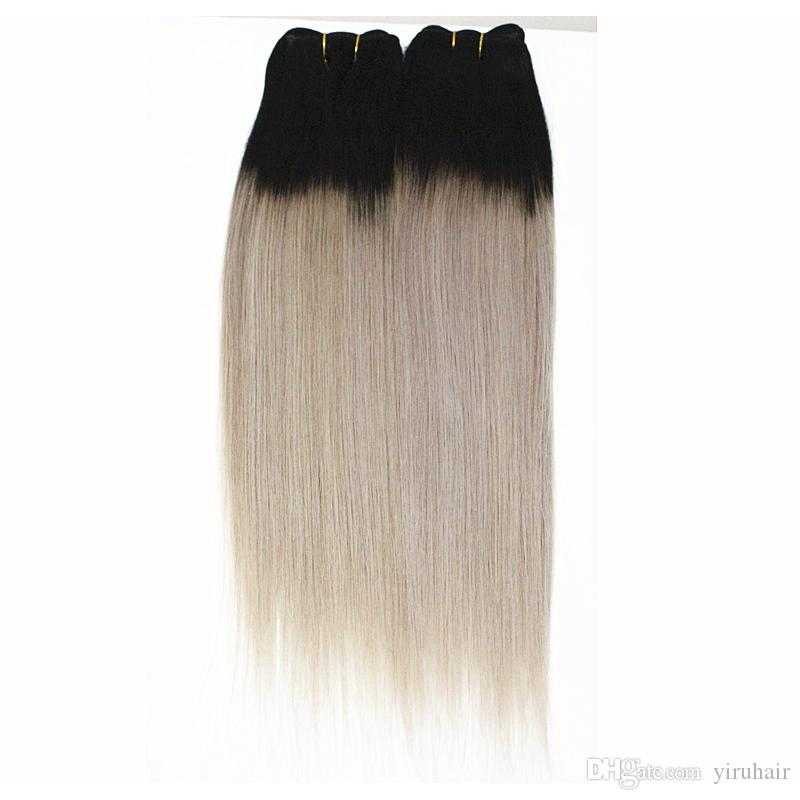 Capelli umani malesi 4 Bundles Straight 1B / Biondo Colorized Hair Extensions Straight 1B / Purple 1B / Grey Colorful Double Hair Wefts