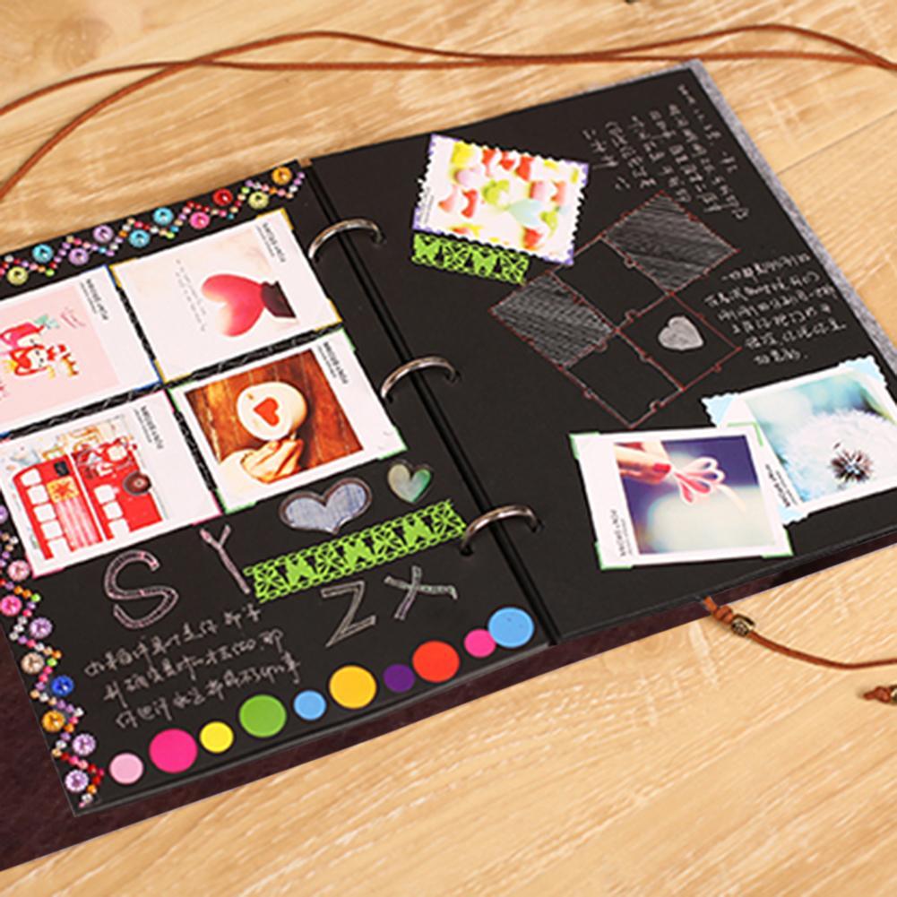 Felt Cover Photo Album 30 Black Sheets Scrapbook Album Diy Handmade