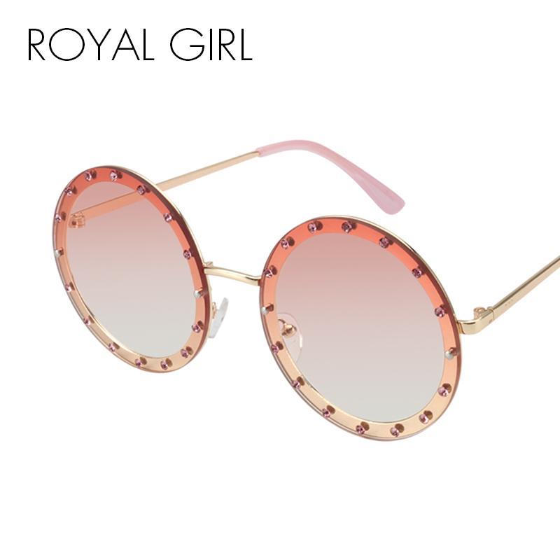 7a4952d82f5 Wholesale Luxury Round Crystal Sunglasses Women 2018 Brand Designer ...