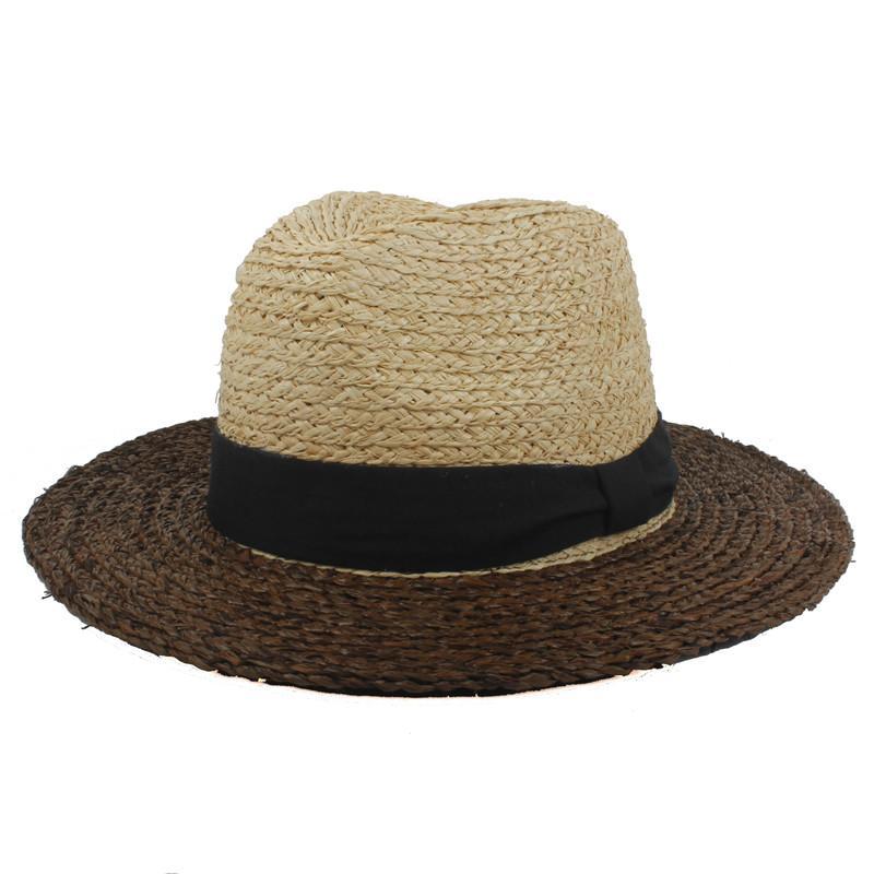 Acquista 100% Rafia Donne Floppy Ampia Cappello Tesa Da Sole Signora Estate  Tessitura A Mano Viaggio Spiaggia Cappello Da Panama Cappellino Cappellino  ... 960449c70947