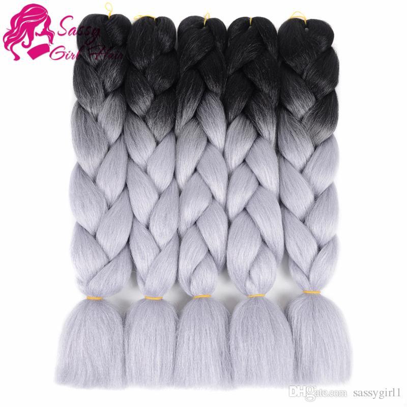 Ombre Jumbo Braid Hair Extension High Temperature Fiber 100g/pc for Twist Braiding HairBlack to Dark Grey SASSY GIRL