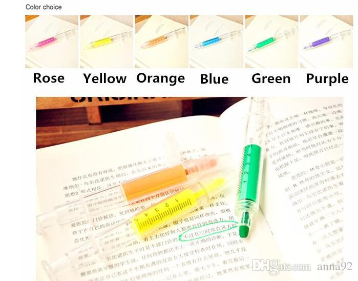 Creative Highlighter pens Syringe design markers Fluorescent pen Stationery scrapbook material School supplies freenshipping 2018