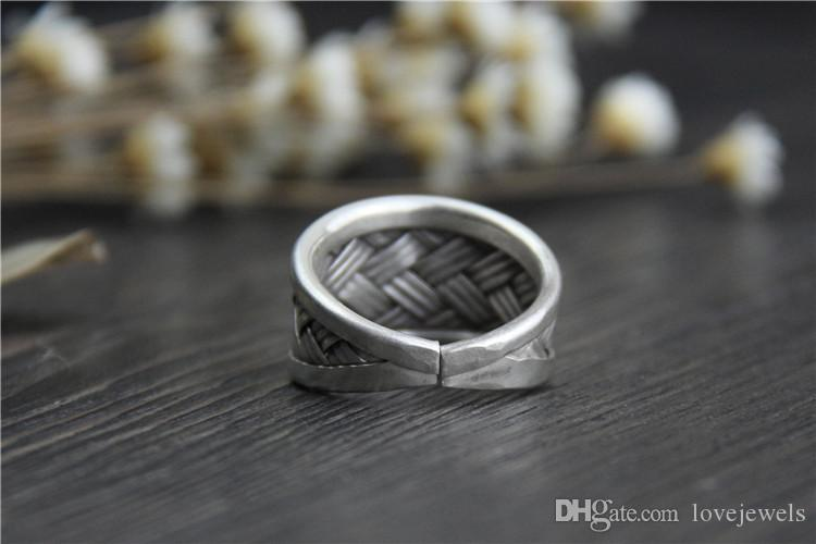designer jewelry fashion charms 999 sterling silver rings Handmade Adjustable Woven men and women folk style do old vintage china direct
