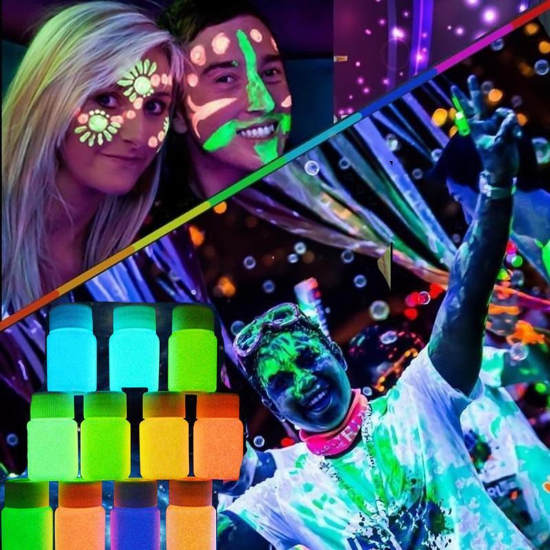 Acheter En Gros Nouveau 20 Ml UV Glow Neon Visage Corps Peinture Fluorescent  Lumineux Fluo Irradiate Luminescent Parti Festival Décoration Maquillage De