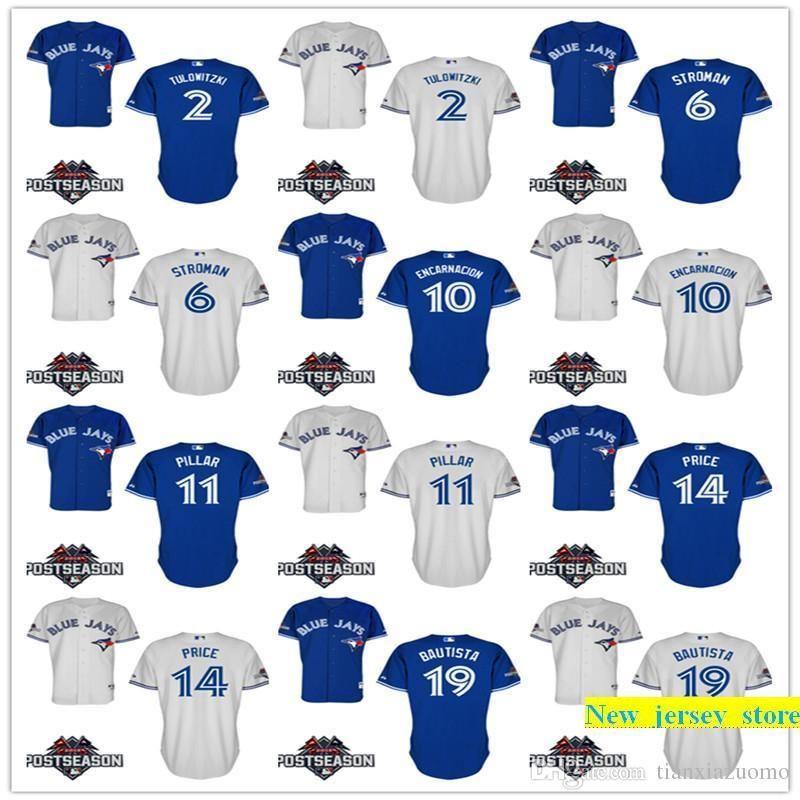 separation shoes bcf9f d4761 2015 Postseason Patch Men s Blue Jays Jersey 19 Jose Bautista Baseball  Shirts 20 Josh Donaldson 6 Marcus Stroman 100% stitched Jersey